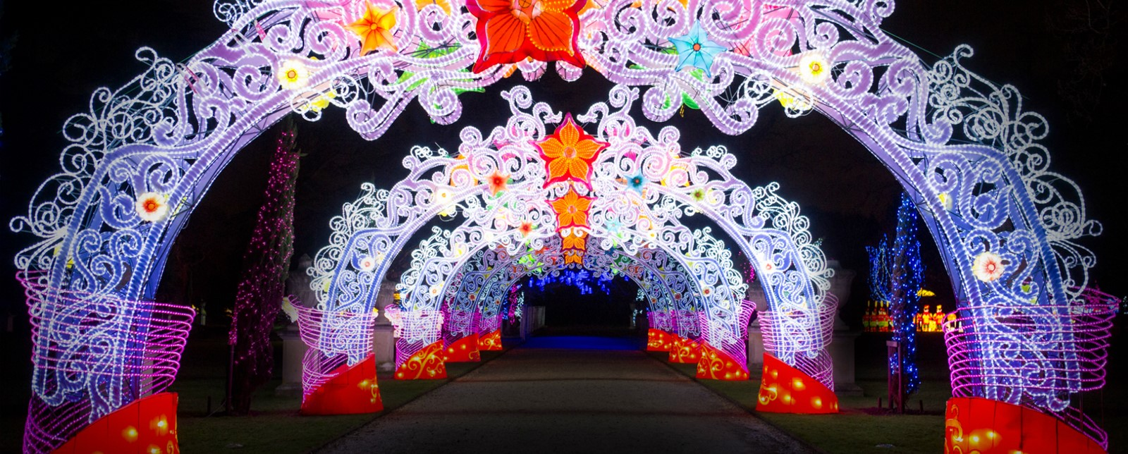 A row of illuminated arches at the Magical Lantern Festival